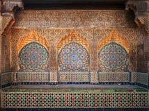 Oud Arabisch gebied met mozaïek in Medina royalty-vrije stock afbeeldingen