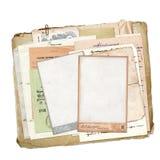 Oud archief met brieven, foto's stock illustratie