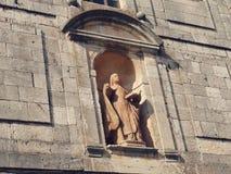 Oud architectuur en Standbeelddetail in Lerma Spanje Stock Fotografie