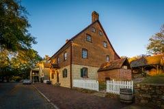 Oud baksteenhuis in Oud Salem Historic District, in winston-S Royalty-vrije Stock Foto's
