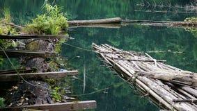 Oud bamboevlot op het water Stock Fotografie