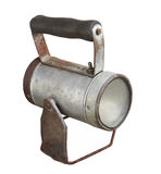 Oud batterijflitslicht met geïsoleerd handvat. Royalty-vrije Stock Afbeelding