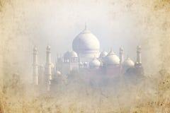 Oud beeld van Taj Mahal - Agra - India Stock Afbeelding