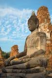Oud beeldhouwwerk van een zitting Boedha op de ruïnes van het Wat Mahathat-tempelclose-up Ayutthaya, Thailand Royalty-vrije Stock Foto's