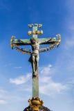 Oud beeldhouwwerk van Jesus Christ Stock Foto