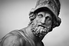 Oud beeldhouwwerk van Menelaus ondersteunend het lichaam van Patroclus Florence, Italië stock afbeelding