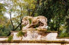 Oud bemost overwoekerd het beeldhouwwerkstandbeeld van de leeuwsteen in Borghese-park op de manier aan de Villa Borghese royalty-vrije stock afbeeldingen