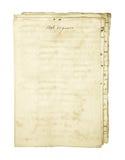 Oud bevlekt document blad Jaar 1596 16de eeuw Op wit Stock Foto's