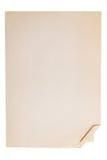 Oud blad van briefpapier met een gebogen hoek Stock Foto's