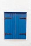 Oud blauw venster Stock Afbeeldingen