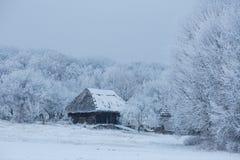 Oud blokhuis in het midden van het bos in de winter Stock Foto's