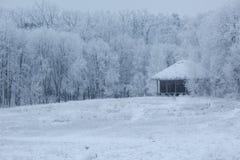 Oud blokhuis in het midden van het bos in de winter Royalty-vrije Stock Fotografie