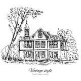 Oud blokhuis in hout, Europa, Vectordieillustratie op wit, hand wordt geïsoleerd getrokken inktschets, Historische rooilijn stock illustratie