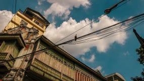 Oud Blokhuis met een Vogel op Elektrische Draden - Heldere Clou royalty-vrije stock afbeelding