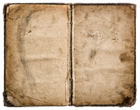Oud boek dat op wit wordt geïsoleerdr grungy versleten document textuur Stock Afbeelding