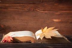 Oud boek met kleurrijke esdoornbladeren op houten achtergrond Royalty-vrije Stock Afbeelding