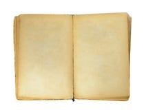 Oud boek met lege gele bevlekte pagina's royalty-vrije stock afbeelding