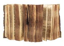 Oud boek met open pagina's stock foto's