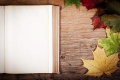 Oud boek op lijst met de herfstbladeren Stock Afbeelding