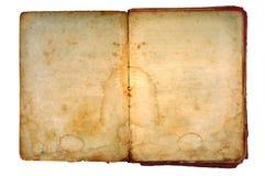 Oud boek open op beide blanco pagina's. Stock Foto