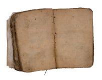 Oud boek open op beide blanco pagina's. Stock Fotografie