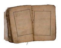 Oud boek open op beide blanco pagina's. Stock Afbeeldingen