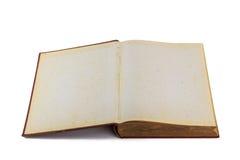 Oud boek open op witte achtergrond Stock Fotografie