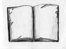 Oud boek - potloodschets Royalty-vrije Stock Afbeeldingen
