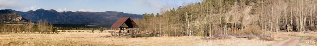 Oud boerderijpanorama Stock Afbeelding