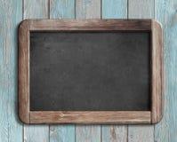 Oud bord of bord op blauwe houten 3d illustratie Royalty-vrije Stock Afbeeldingen