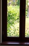 Oud bruin venster Stock Fotografie