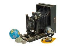 Oud camera en kompas 3 royalty-vrije stock afbeelding