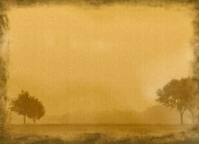 Oud canvas met bomen stock illustratie
