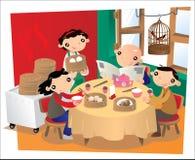 Oud Chinees restaurant in Hong Kong royalty-vrije illustratie