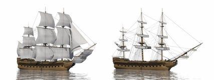 Oud 3D koopvaardijschip - geef terug stock illustratie