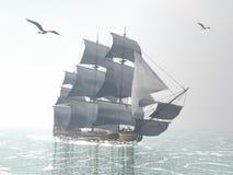 Oud 3D koopvaardijschip - geef terug royalty-vrije illustratie