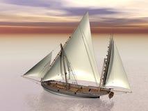 Oud 3D slagschip - geef terug Stock Afbeeldingen