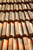 oud dak in de textuur van Italië van diagonale architectuur Stock Foto