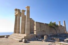 Oud de akropolisgebied van Lindos in Rhodos Stock Fotografie