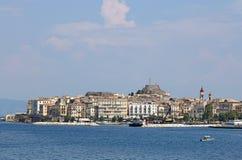 Oud de stadslandschap van Korfu Stock Fotografie