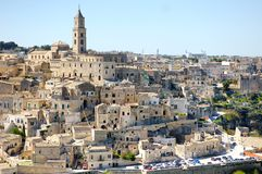 Oud de stadspanorama van Matera, Italië Stock Fotografie
