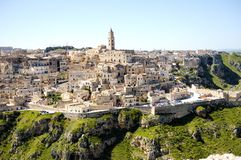 Oud de stadspanorama van Matera, Italië Stock Afbeelding