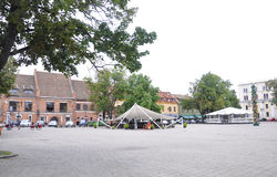 21.2014-oud de stadsplein van Kaunasaugustus in Kaunas in Litouwen Stock Afbeelding