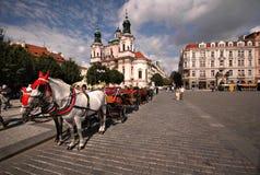 Oud de stadsvierkant van Praag Stock Foto