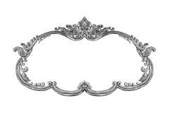 Oud decoratief zilveren die kader op wit wordt geïsoleerd Royalty-vrije Stock Foto's