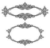 Oud decoratief zilveren die kader op wit wordt geïsoleerd Royalty-vrije Stock Afbeeldingen