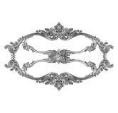 Oud decoratief zilveren die kader op wit wordt geïsoleerd Stock Afbeeldingen