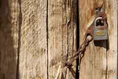 Oud deur en slot Stock Afbeelding