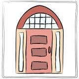 Oud deurpictogram, geïsoleerde illustratie Sluit omhoog houten doo Royalty-vrije Stock Foto's