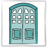 Oud deurpictogram, geïsoleerde illustratievector Sluit omhoog houten doo Stock Afbeelding